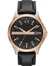 Armani Exchange AX2129 Herren Roségold Armband aus schwarzem Leder Kleid zu sehen