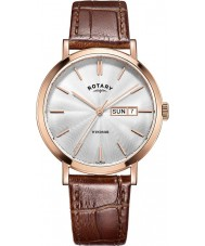 Rotary GS05304-02 Herren-Uhren windsor Roségold braunes Lederarmband Uhr plattiert