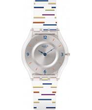 Swatch SFE108 Damen dünne Liner weiß Silikonband Uhr