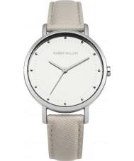 Karen Millen KM139C Damen grau Lederband Uhr