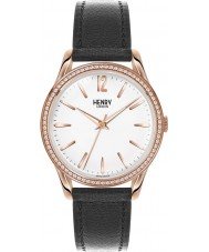 Henry London HL39-SS-0032 Damen rich weiß schwarz Uhr mit Swarovski Elementen