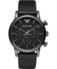 Emporio Armani AR1737 Mens klassische Chronograph IP schwarz Lederband Uhr