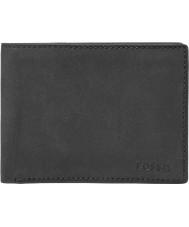 Fossil ML3446001 Herren nova schwarzes Leder l-zip bifold Brieftasche
