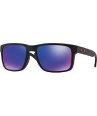 Oakley Oo9102-36 Holbrook matt schwarz - rot Sonnenbrille Iridium