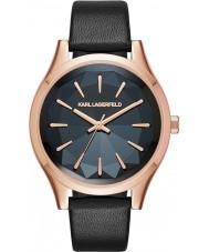 Karl Lagerfeld KL1625 Damen Teller schwarzes Lederband Uhr