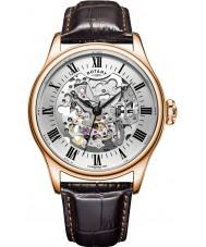 Rotary GS02942-01 Herren-Uhren Rotgold braun Skelett mechanische Uhr plattiert