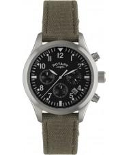 Rotary GS02680-19 Herren Uhren Fliegerchronograph khaki Leinwand Bügeluhr