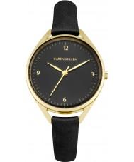 Karen Millen KM130BG Damen schwarzes Lederband Uhr