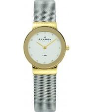 Skagen 358SGSCD Damen klassik weiß Silber Mesh-Uhr