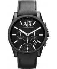 Armani Exchange AX2098 Herren schwarzes Lederarmband Chronograph Weisekleiduhr
