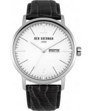Ben Sherman WB046B Mens große Portobello proffesional schwarzes Lederband Uhr