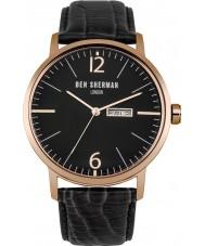 Ben Sherman WB046BRG Mens große Portobello proffesional schwarzes Lederband Uhr