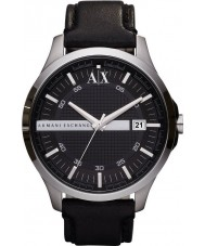 Armani Exchange AX2101 Herren Armband aus schwarzem Leder Kleid zu sehen