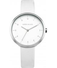 Karen Millen KM135W Damen weißes Lederband Uhr