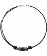 Fossil JF84068040 Mens Vintage beiläufig schwarzes Leder Halskette